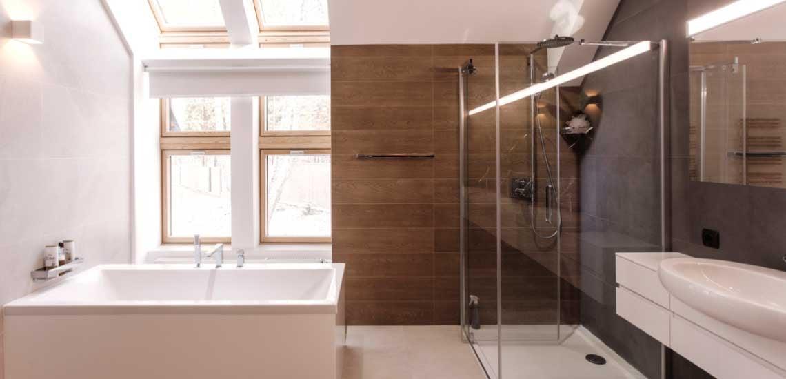 Modern, minimal stílusú fürdőszoba